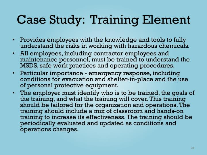 Case Study:  Training Element