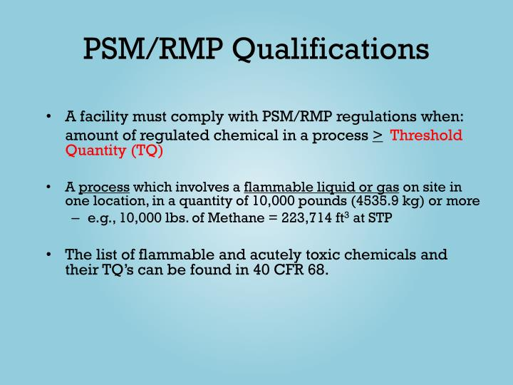 PSM/RMP Qualifications