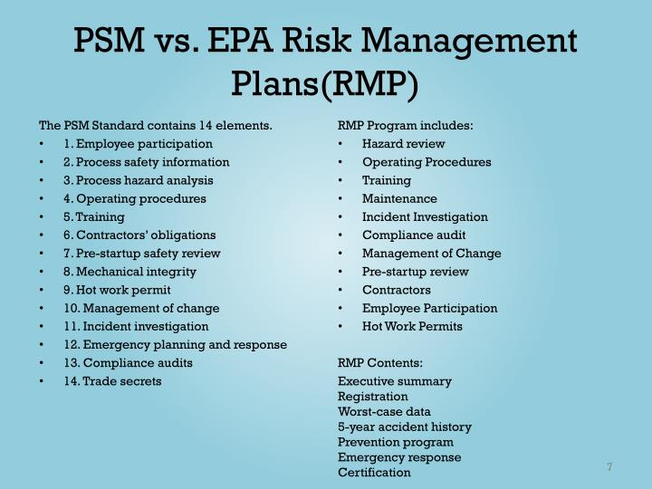 PSM vs. EPA Risk Management Plans(RMP)