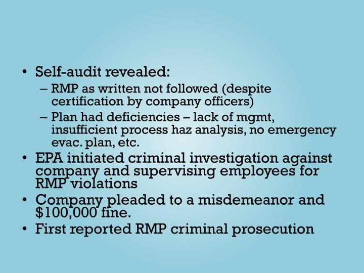 Self-audit revealed: