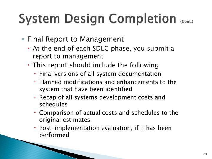System Design Completion