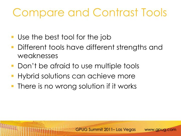 Compare and Contrast Tools