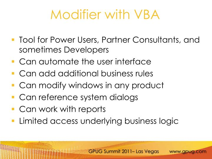 Modifier with VBA