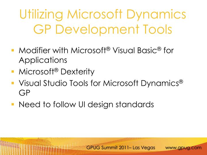 Utilizing Microsoft Dynamics GP Development Tools