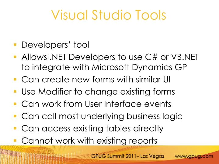 Visual Studio Tools