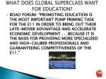 what does global superclass want for education2