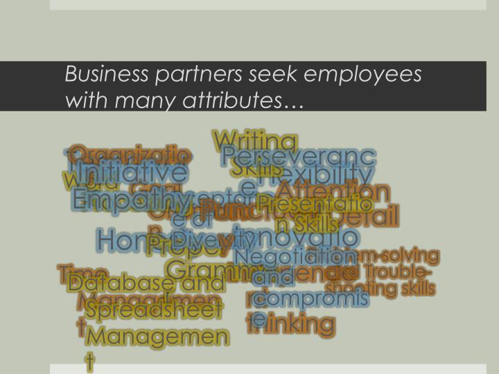 Business partners seek employees with many attributes…