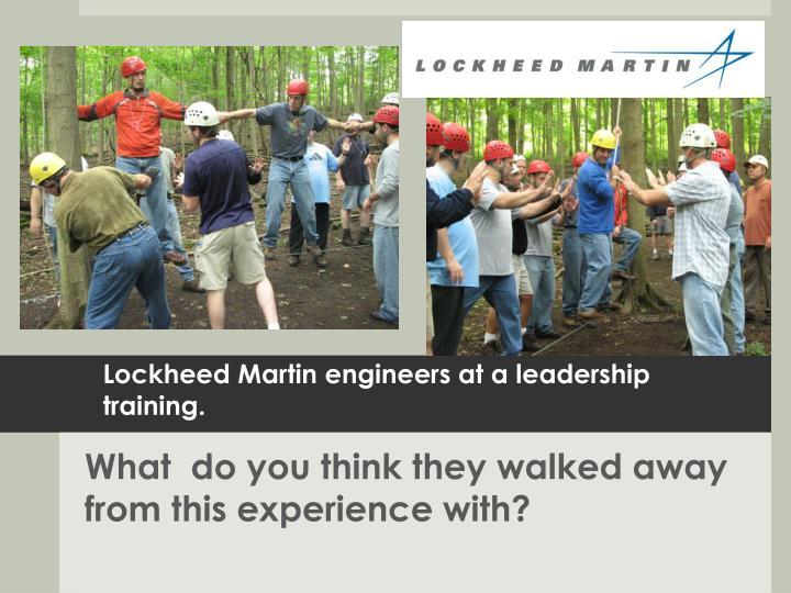 Lockheed Martin engineers at a leadership training.