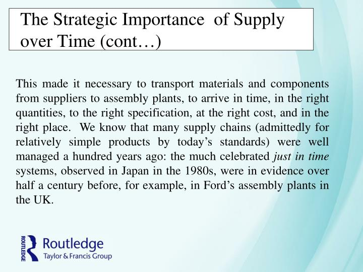 The Strategic Importance  of Supply over Time (cont…)
