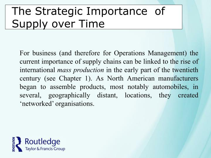 The strategic importance of supply over time