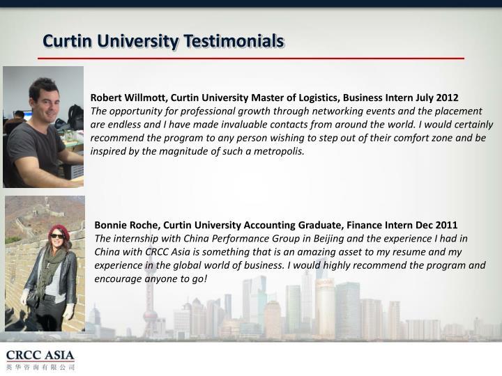 Curtin University Testimonials
