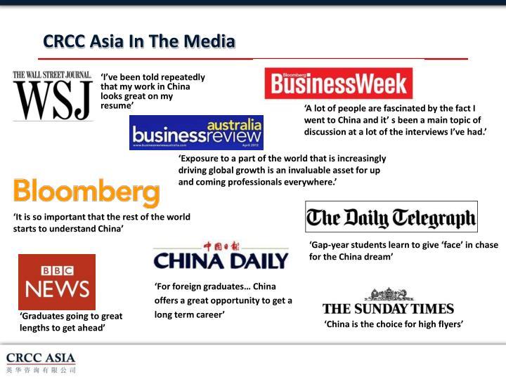 CRCC Asia In The Media