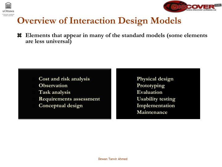 Overview of Interaction Design Models