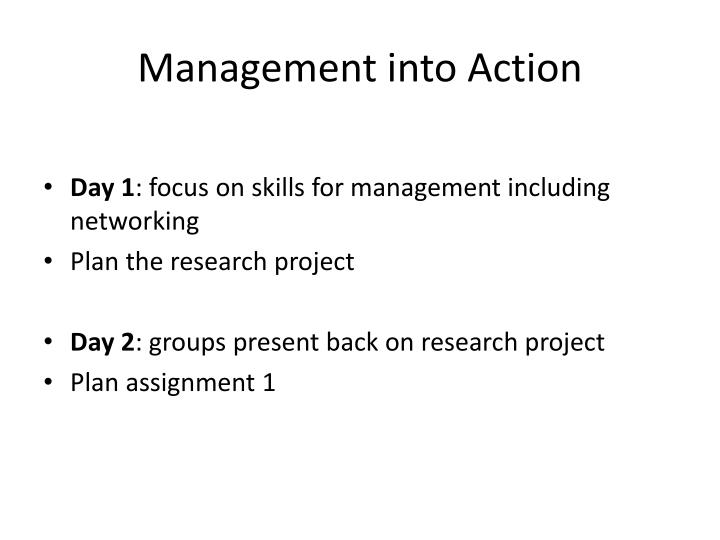 Management into Action