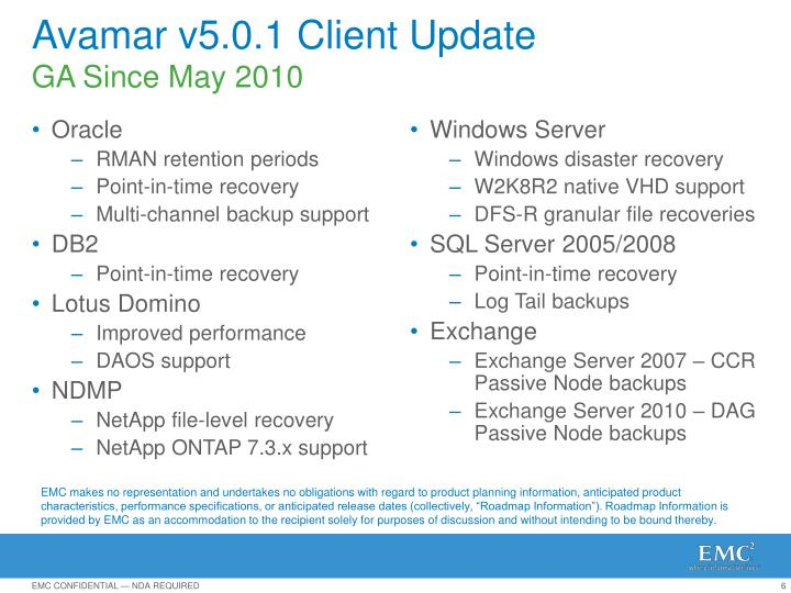 Avamar v5.0.1 Client Update