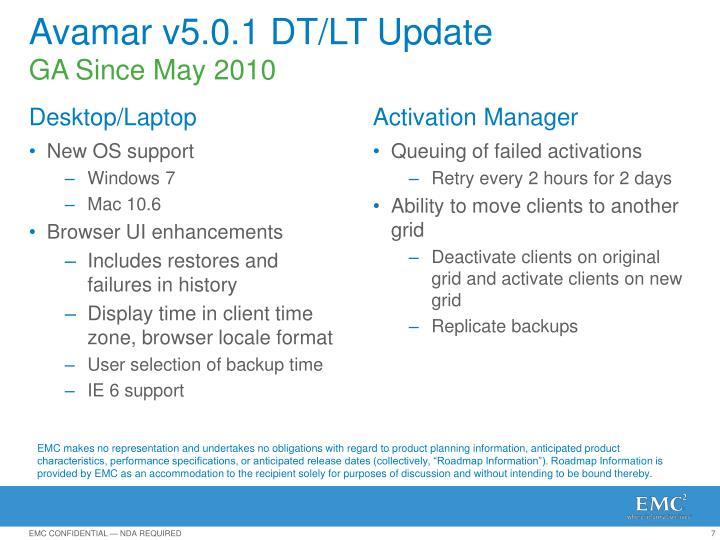 Avamar v5.0.1 DT/LT Update