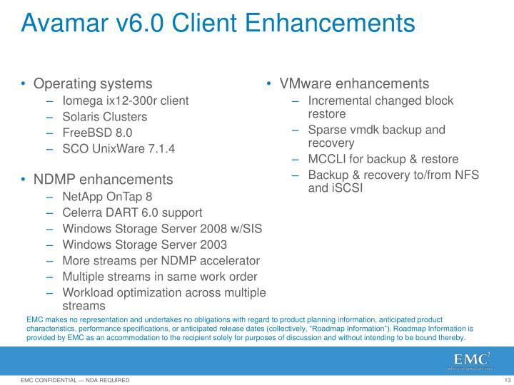 Avamar v6.0 Client Enhancements