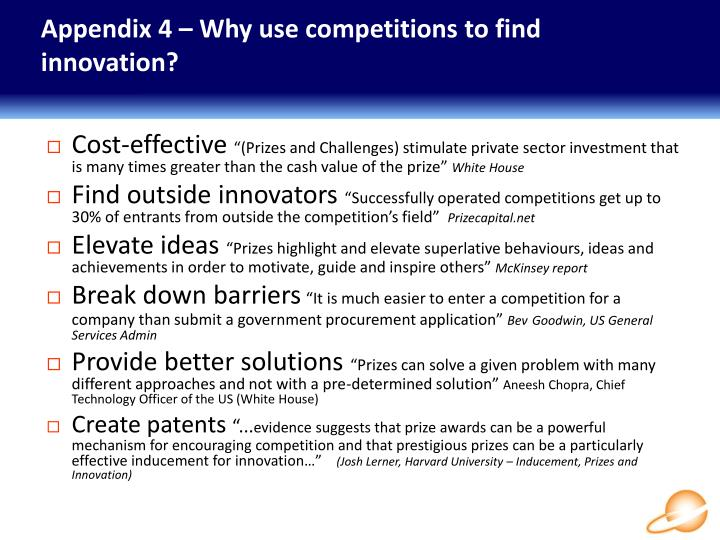 Appendix 4 – Why use competitions to find innovation?