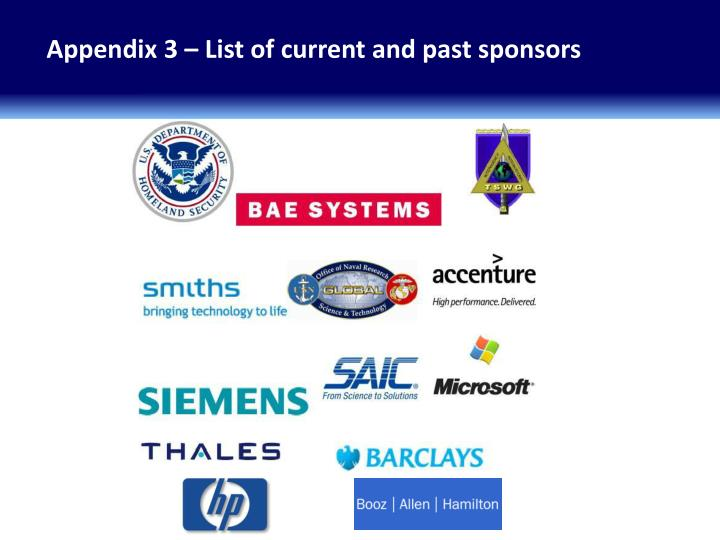Appendix 3 – List of current and past sponsors