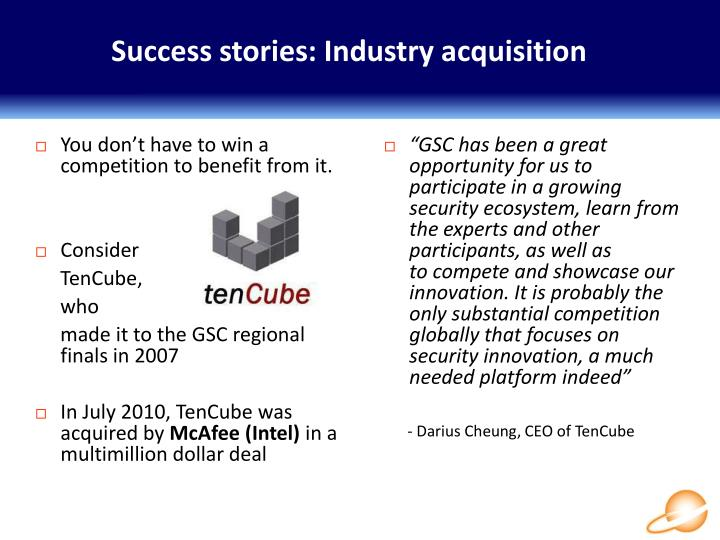 Success stories: Industry acquisition