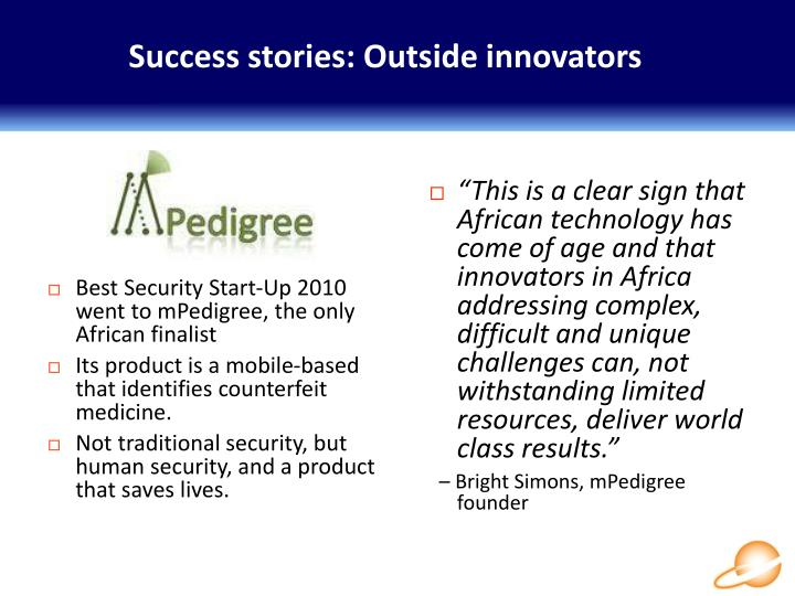 Success stories: Outside innovators