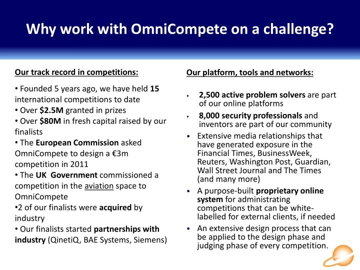 Why work with OmniCompete on a challenge?