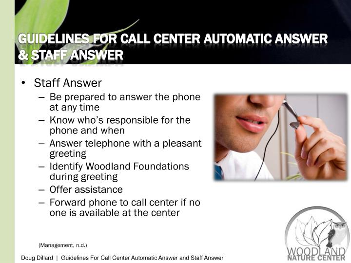 GUIDELINES FOR CALL CENTER AUTOMATIC ANSWER &