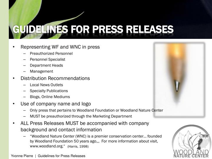 GUIDELINES FOR PRESS RELEASES