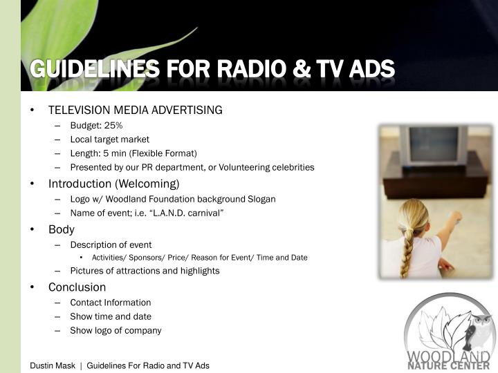 GUIDELINES FOR RADIO & TV ADS
