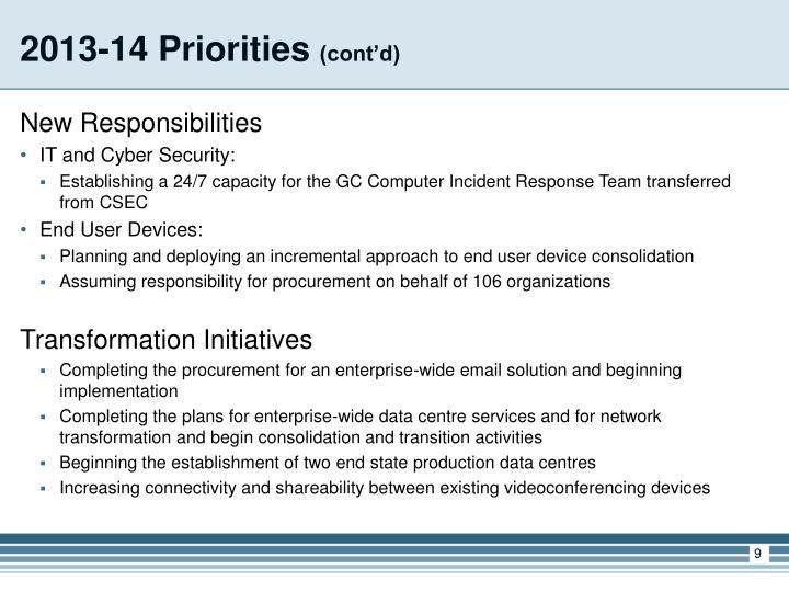 2013-14 Priorities