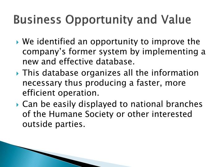 Business Opportunity and Value