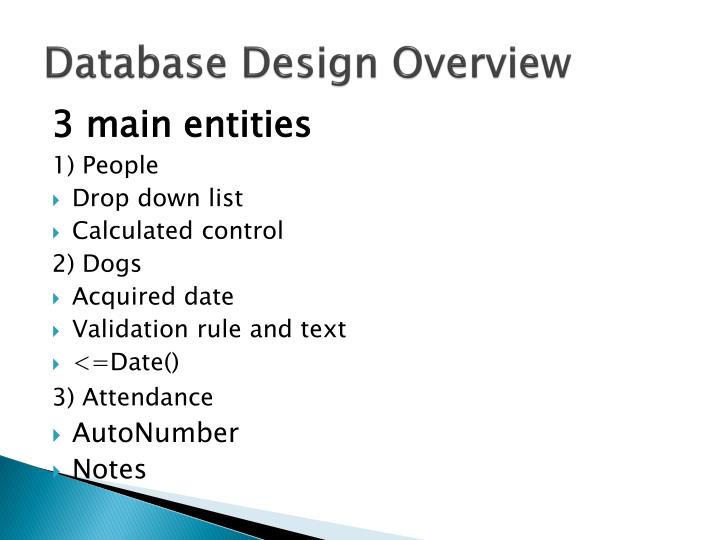 Database Design Overview