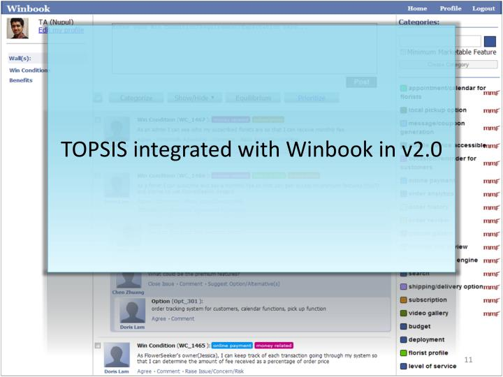 TOPSIS integrated with Winbook in v2.0