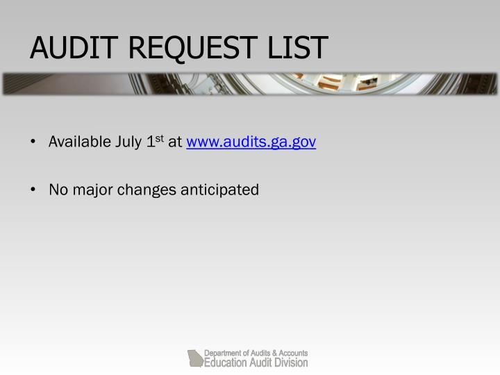 AUDIT REQUEST LIST