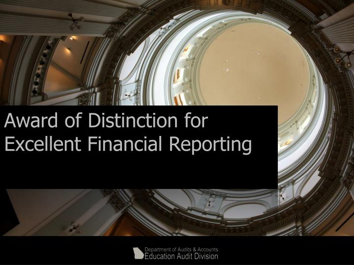 Award of Distinction for Excellent Financial Reporting