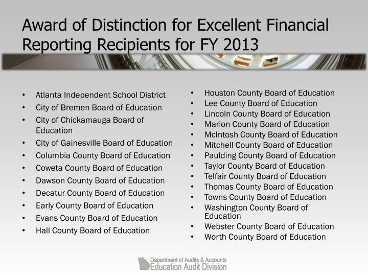 Award of Distinction for Excellent Financial Reporting Recipients for FY 2013