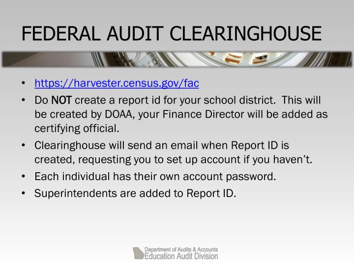 FEDERAL AUDIT CLEARINGHOUSE
