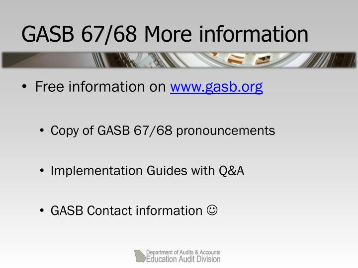 GASB 67/68 More information