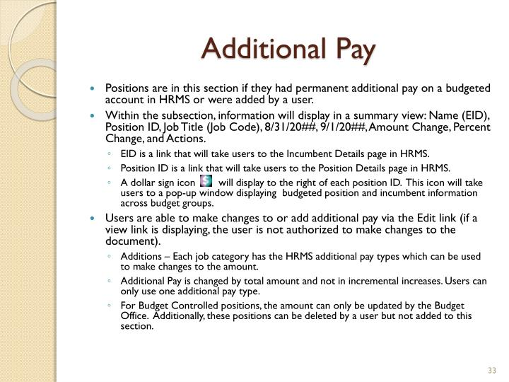 Additional Pay