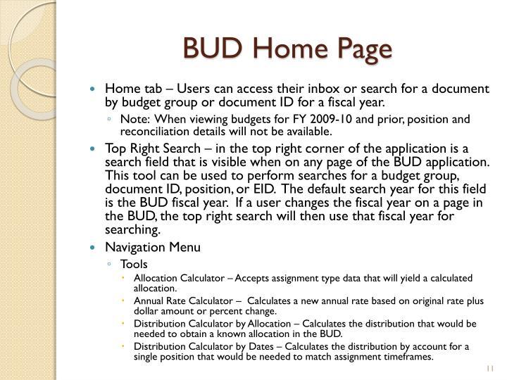 BUD Home Page
