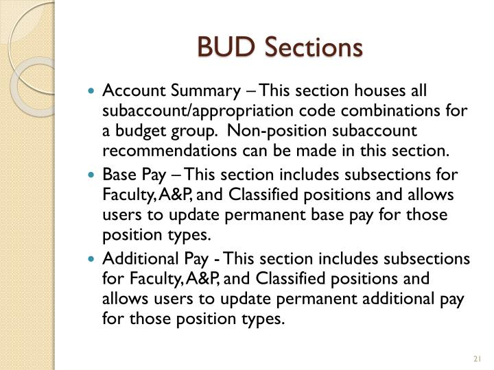 BUD Sections