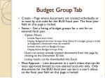 budget group tab
