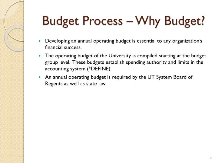 Budget Process – Why Budget?