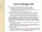 general budget info