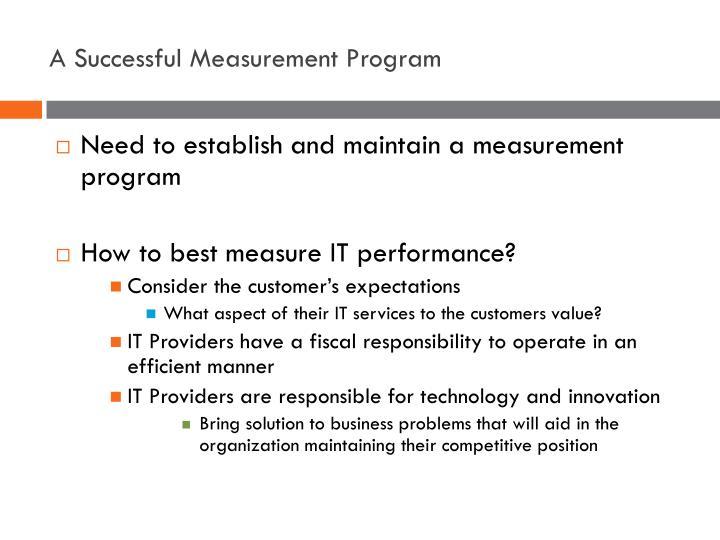 A Successful Measurement Program