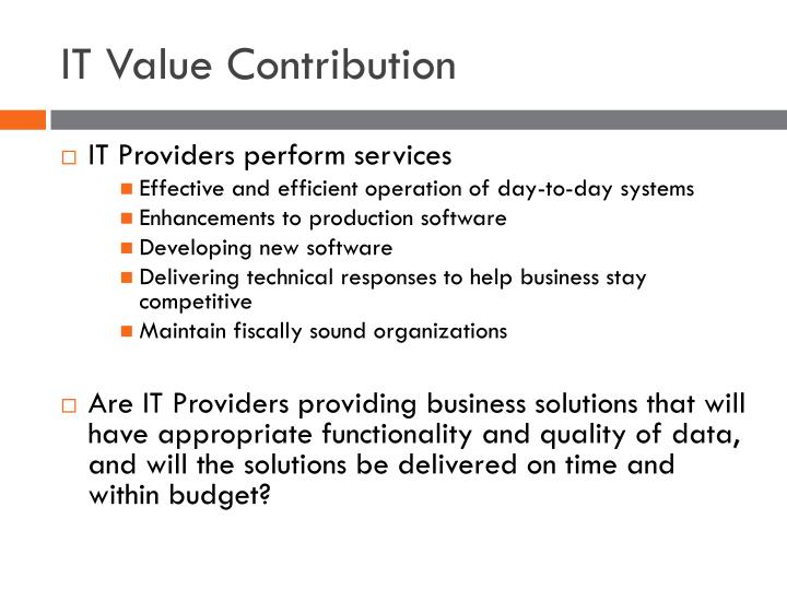IT Value Contribution
