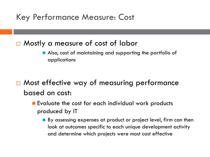 Key Performance Measure: Cost