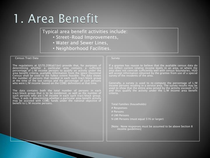 1. Area Benefit