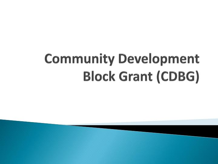 Community development block grant cdbg