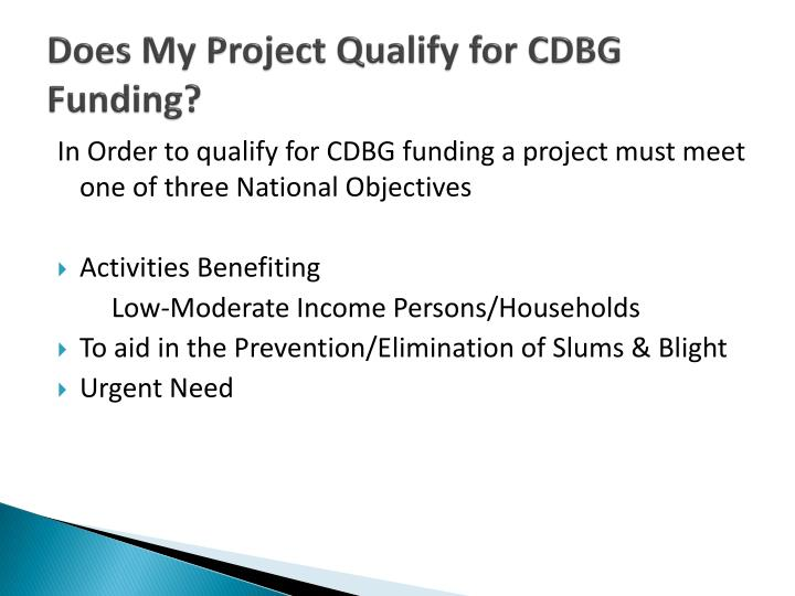 Does my project qualify for cdbg funding